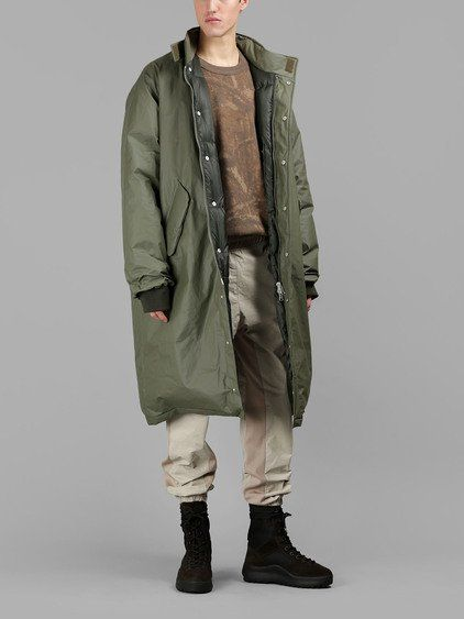 YEEZY Yeezy Men'S Military Green Waxed Down Parka. #yeezy #cloth #coats