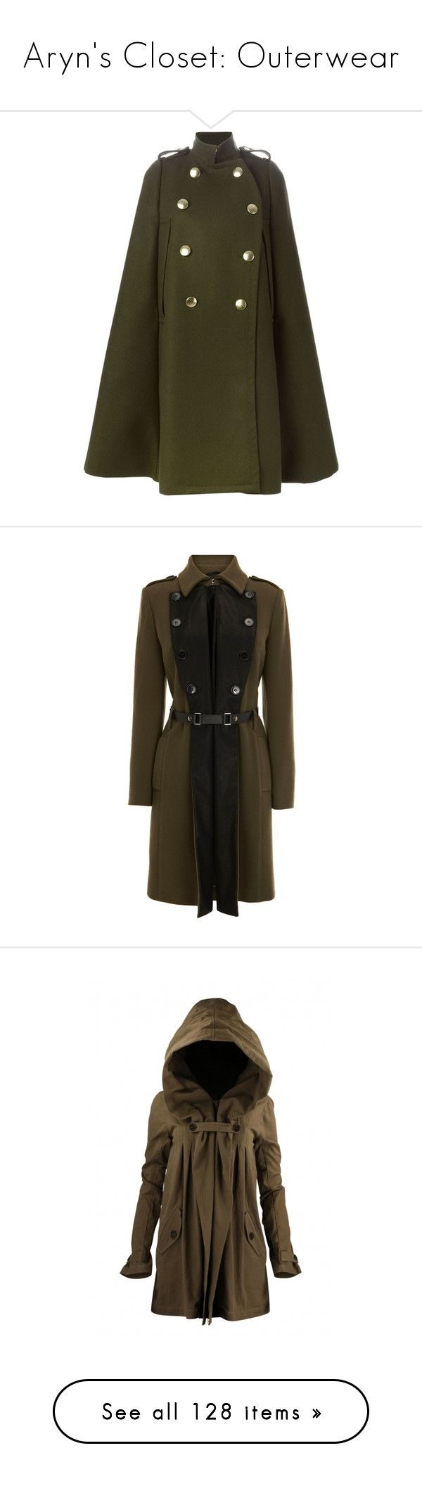 Aryn's Closet: Outerwear by batgirl87 on Polyvore featuring women's fashion, outerwear, coats, cape, jackets, tops, military style coat, cape coat, brown cape and military capes