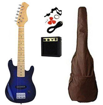 """New 30"""" Kids Electric Guitar With Amplifier Combo Accessory Kit - Transparent Blue by Crescent. $79.95. Suitable for ages 4 - 10 years. Solid Body 30"""" Guitar. Great beginner electric guitar set for kids. Included: Guitar, Amplifier, Cable, Gig Bag, Strings. Great Gift and Fun Guitar Set. You are viewing a Brand New 30"""" Electric Transparent Blue Guitar. This product is ideal for future rock stars and is a great way to get started. Our guitar features a double cuta..."""