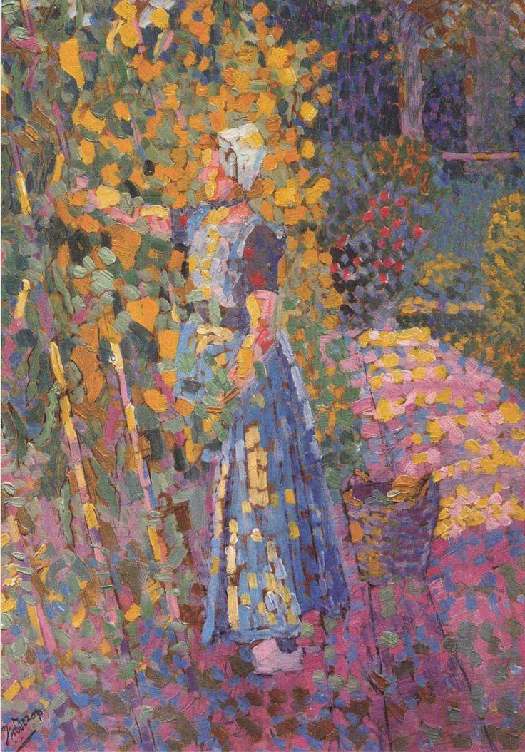 Jan Toorop, klein Zeeuws meisje in moestuin. 1909