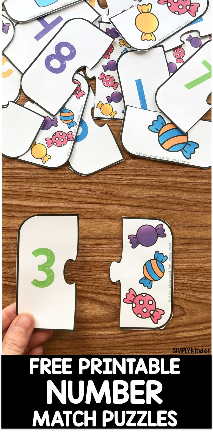 Free Printable Number Match Puzzles!  A fun way to work on numbers, counting and number association for preschool and kindergarten kids!  #numbers #mathfreebies