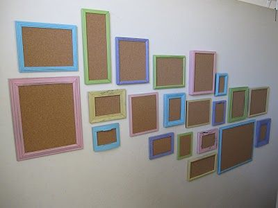 A wall of cork boards to display anything!  Change it out when you get new pics...perfect for kids artwork too!! You could paint different size frames with cork board in all the same color for a more grown up look!