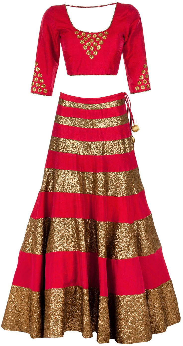 Deep pink sequin lehenga set available only at Pernia's Pop-Up Shop.