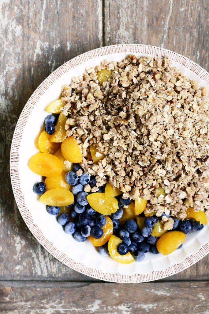 Yellow Plum and Blueberry Crisp Recipe (Gluten-Free, Vegan) via YummyBeet.com