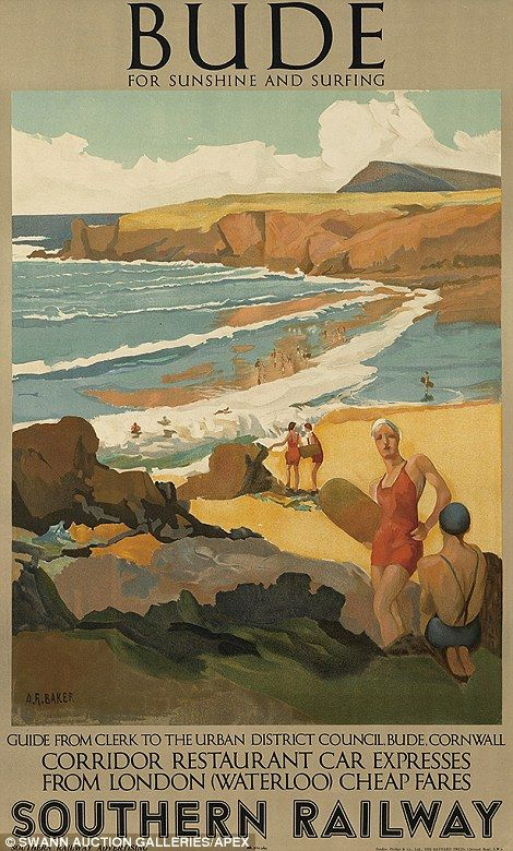 Vintage railway posters of UK seaside destinations - Bude