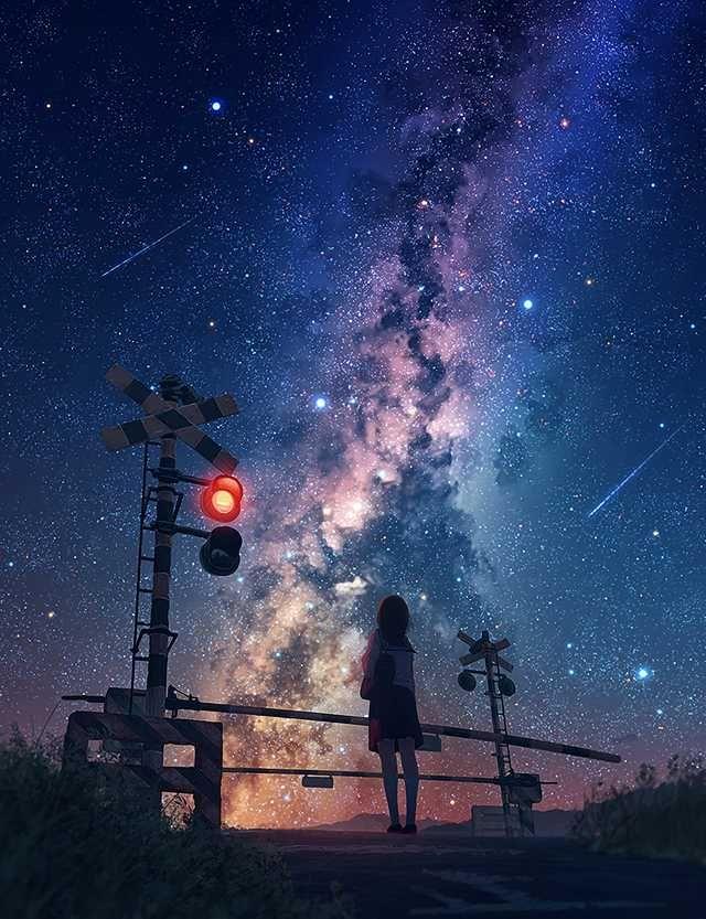 Milky Way Imgur Pemandangan Anime Pemandangan Khayalan Langit Malam Background anime wallpaper galaxy