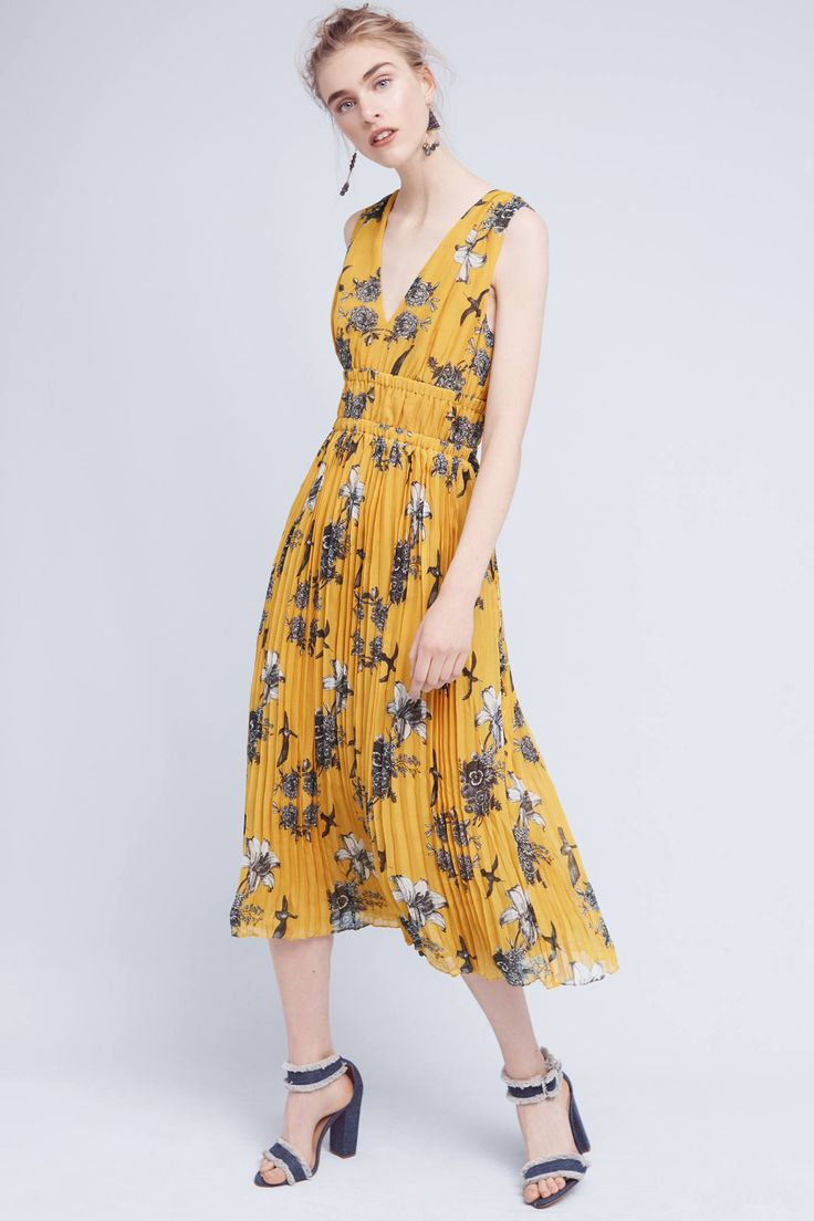 Golden Silk Midi Dress- beautiful dress from Anthropology