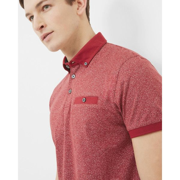 Ted Baker Printed cotton polo shirt (€77) ❤ liked on Polyvore featuring men's fashion, men's clothing, men's shirts, men's polos, mens cotton shirts, mens short sleeve polo shirts, mens short sleeve shirts, ted baker mens shirts and mens short sleeve cotton shirts