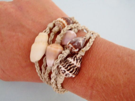 Seashell nylon rope bangle roll on bracelets  by HayleySommer