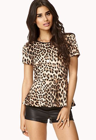 Chic Leopard Peplum Top
