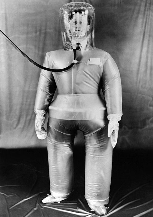Plastic protective outfit filled with compressed air. It was designed to protect British Atomic energy workers against radioactive dust and particles. Oct. 21, 1954. (CSU_ALPHA_1790) CSU Archives/Everett Collection