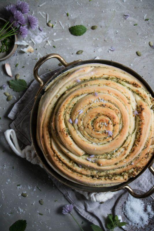 chive pumpkin seed pesto bread