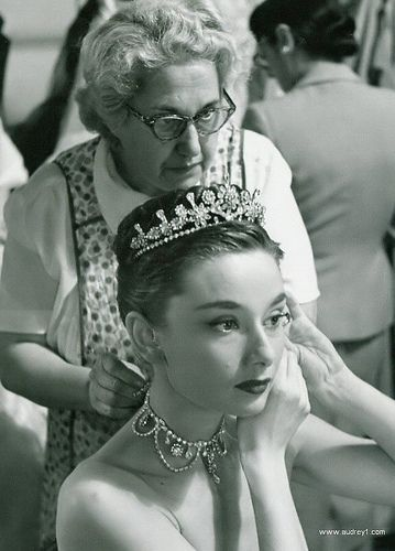 "Audrey Hepburn. Behind the scenes of ""Roman Holiday"", 1953"