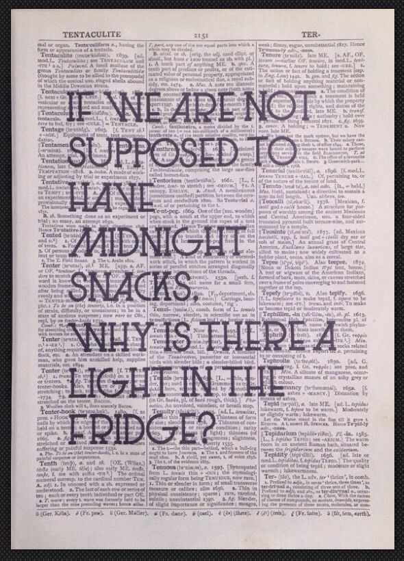quirky funny kitchen quote print vintage dictionary wall art midnight snack diet - Homemade Home Decor