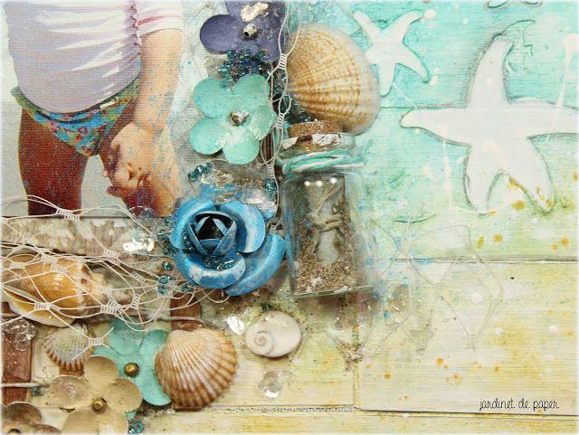 Jardinet de paper Scrapbooking: Canvas mixed media playa