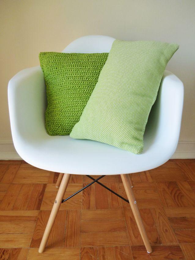 Almofada ráfia - 40cmsx40cms Almofada verde e cru - 53cmsx30cms