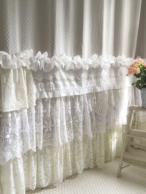 When decorating our homes or buying a special gift for someone, this beautiful soft grey shabby chic shower curtain with its many layers of lace and ruffles is sure to please. Made uniquely for a rare