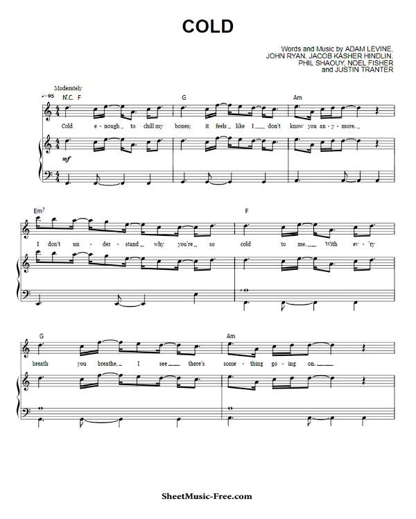 Cold Sheet Music Maroon 5 Piano Sheet With Images Sheet Music