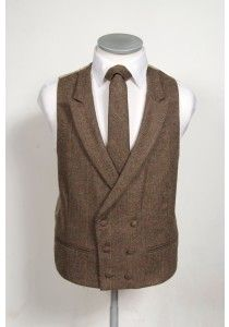 Brown check English tweed grooms wedding waistcoat double breasted ideal for vintage weddings #tweed #weddingwaistcoat #waistcoat #groom #groomwaistcoat