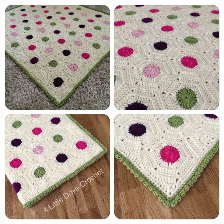 Polka dot hexagon crochet blanket by Little Dove Crochet (pattern by Cypress Textiles)