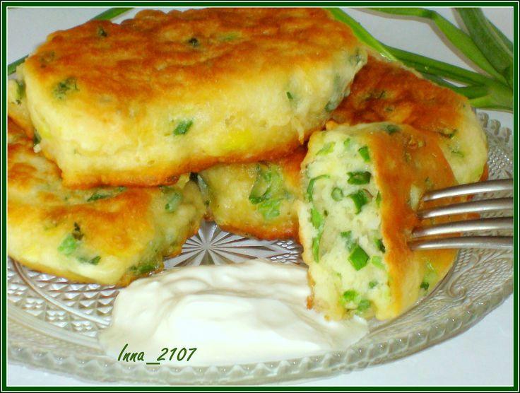 Оладьи на кефире с зеленым луком рецепт с фотографиями