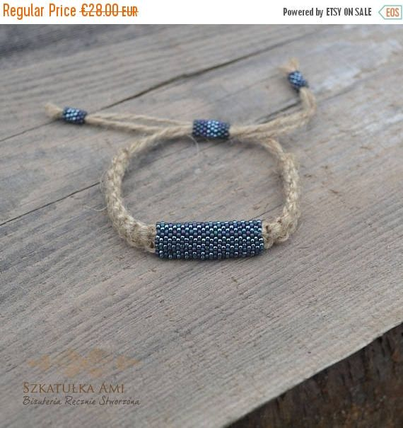 ON SALE Natural Linen men bracelet Ethnic bracelets Shadow  #szkatulkaami, #linenbracelet, #unisexbracelet #vegan, #naturalbracelet, #Bluebracelet, #greybracelet, #etnobracelet