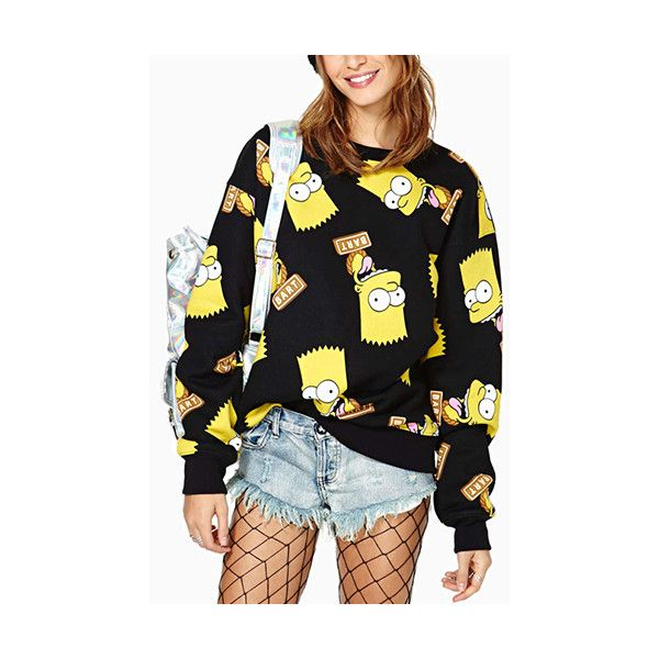 The Simpsons Print Rib Hype Sweatshirt SS0310004 ($23) ❤ liked on Polyvore featuring tops, hoodies, sweatshirts, black, print comic book, print sweatshirt, loose fit tops, print top and cartoon sweatshirts