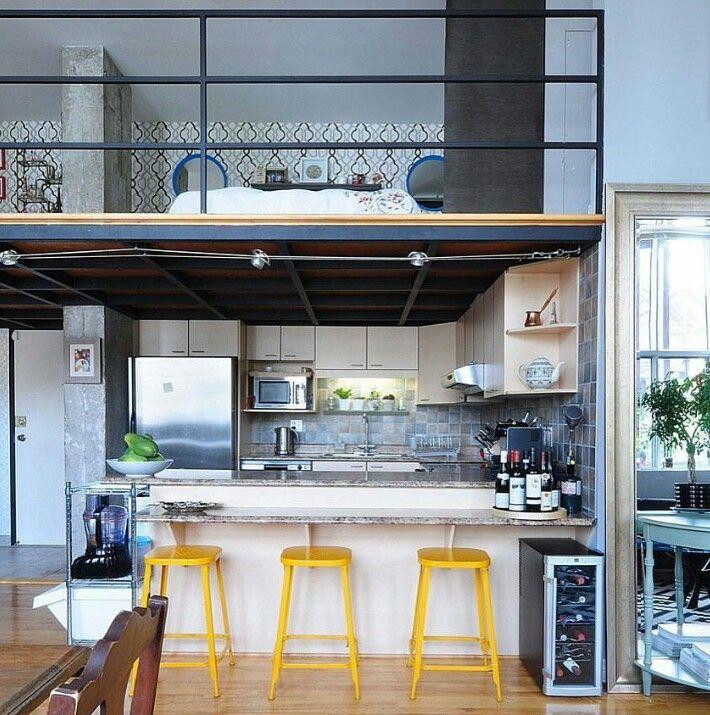 Loft. Pattern tiles. Yellow stools. Cement vs wood