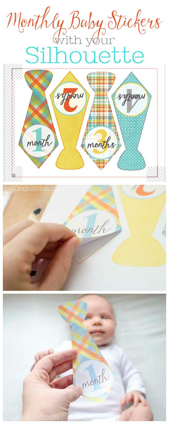 DIY Monthly Baby Stickers - create your own stickers in any shape, size, or color using a Silhouette Cameo or Portrait - what a great baby shower gift!