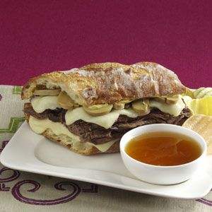 French Dip au Jus - We do sauteed green pepper instead of the mushrooms.  This is one of Sam's favorites