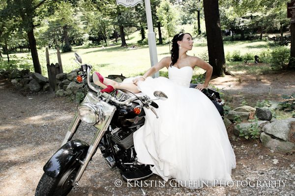 "Fun ""rock the dress"" photo of a bride on a motorcycle 