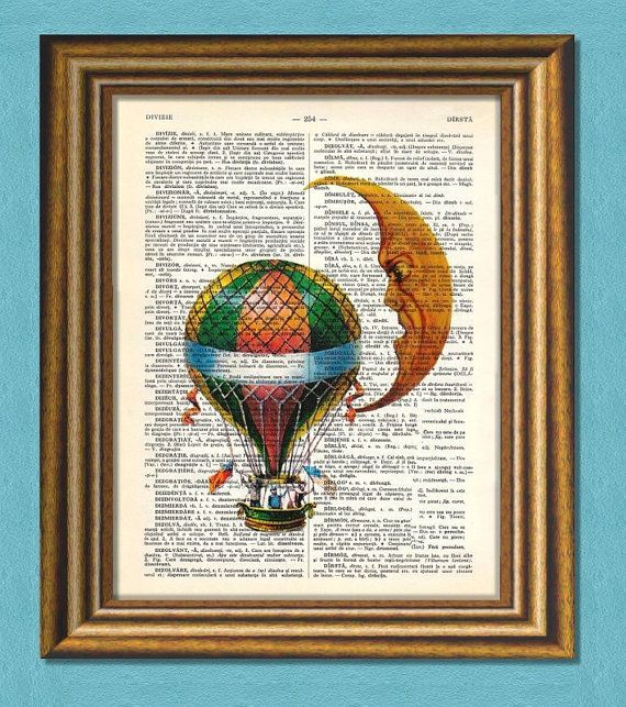 Black Friday! Buy 1 Get 2! - FLY ME to the MOON   Dictionary art  Vintage by littlevintagechest, $7.99