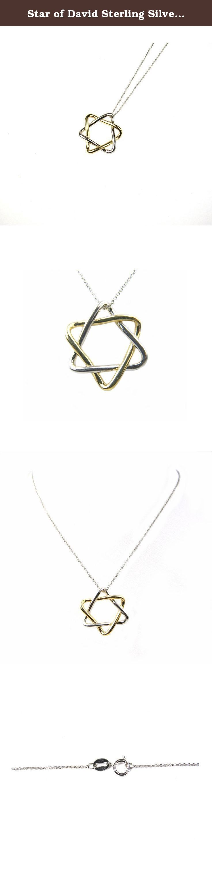 "Star of David Sterling Silver Pendant with Gold Plating. Two Tone. 18"" Chain Included. Plated in Yellow Gold and White Rhoidum, two tone pendant / necklace. Highly polished for a very fine finish. Includes 18"" chain. A very unique Magen David that can be worn by wither men or women."