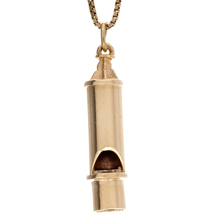 Stylish 10K yellow gold 34mm whistle charm/pendant. Excellent detailing along with a high polish finish. Well-made with a nice weight, This would make the perfect gift for someone to wear everyday!