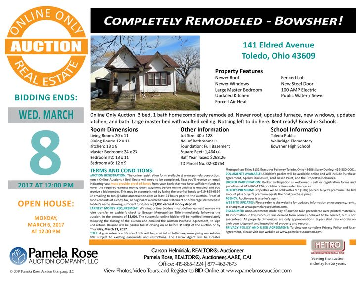 Completely Remodeled Home – Online Only Auction at 141 Eldred Avenue, Toledo, Ohio 43609 - Bidding Ends: Wednesday, March 8, 2017 at 12:00 pm. Open House: Monday, March 6, 2017 at 12:00 pm. 3 bedroom, 1 bath home completely remodeled and is rent ready. Stop by the open house. View the auction brochure, photos, video tour, and register to bid online. Pamela Rose Auction Company, LLC.