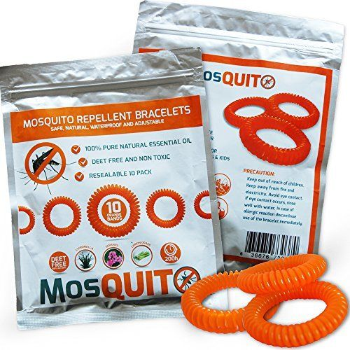 Mosquito Repellent Bracelets 10 pack - Safe, Natural, Waterproof Wristband with Citronella Lemongrass Geraniol - 100% Pure Natural Essential Oil  by Mosquito