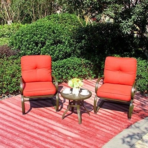 Patio Garden Chair Outdoor Table Set Furniture Pool 3PC Wrought Iron Pillows New #PatioGardenChair