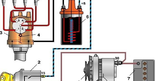 ВАЗ: электрическая схема зажигания ваз 2101