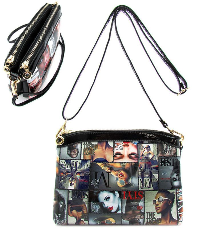 Cross Body Handbag Magazine Printed Small Purse Multi Abfabulous Fashion