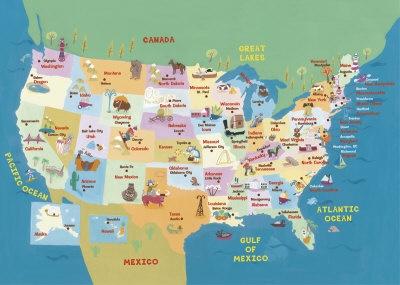 Best Creative Interesting USA Maps Images On Pinterest Usa - Usa maps with states