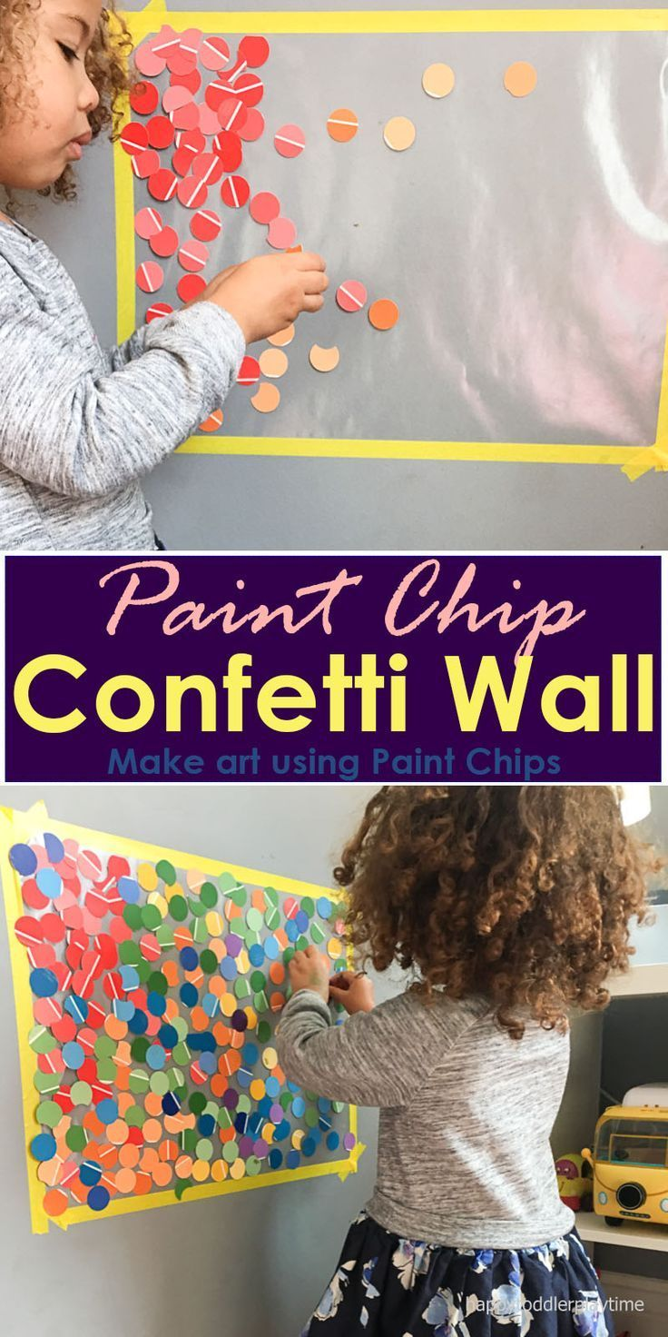 Make beautiful wall art with your toddler using paint chips while at the same time learning colours!