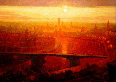 Картины :: Москва'13 | Река мост утро | Купить картину у художника Rixovitch
