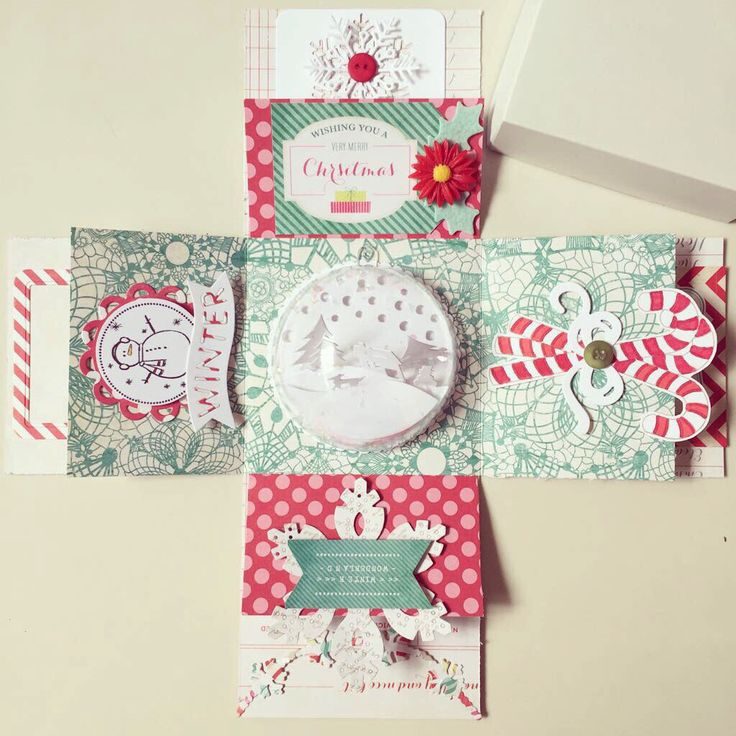 Handmade Christmas box card in red and green