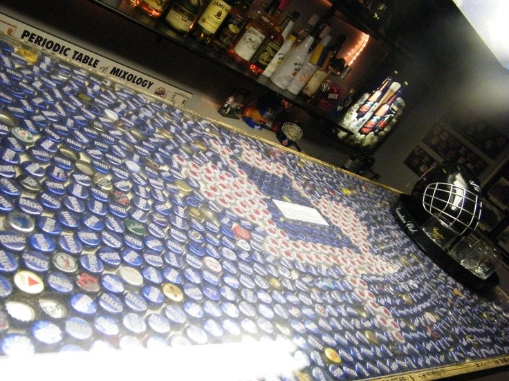 Beer cap bar top with plexi glass diy idea 39 s pinterest for Beer cap bar top