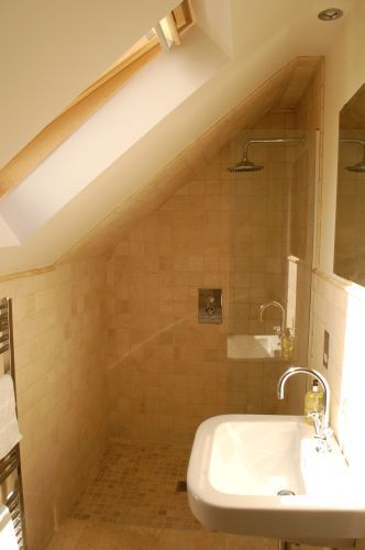 compact wet room in loft conversion not my colors but totally doable in the farmhouse - Small Shower Room Ideas