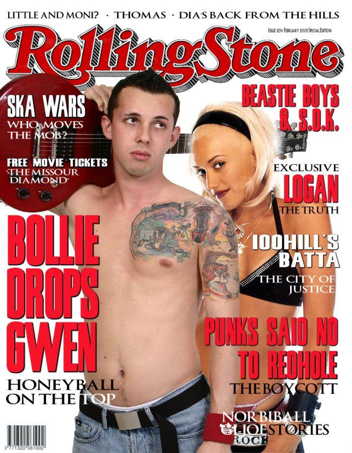 Semplicissima copertina di Rolling Stone con Gwen Stefani su fondo bianco con i visi dei due protagonisti completamente liberi di essere modificati.