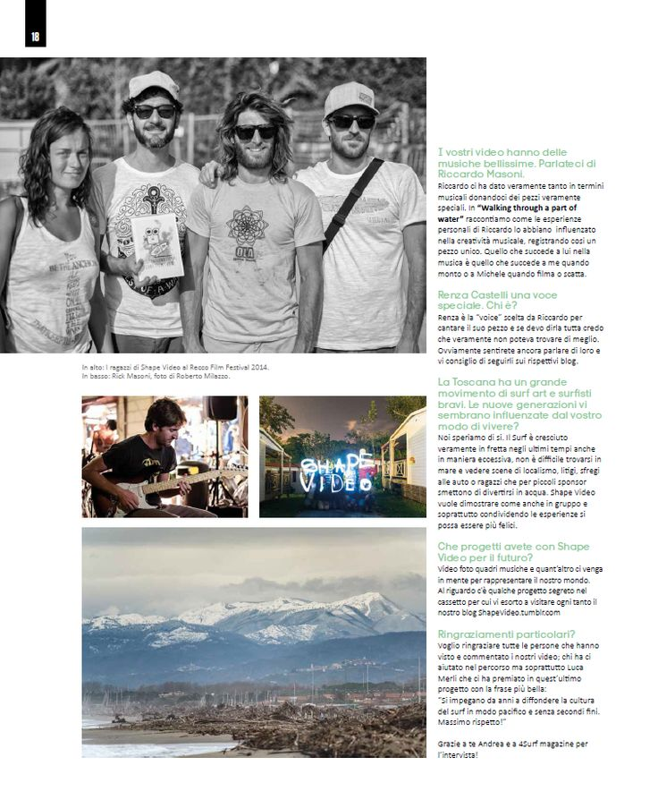 4SURF magazine - n°63 - SHAPE VIDEO ITW - Intervista di Andrea Bianchi. Foto Michele Chiroli  pag. 16-17