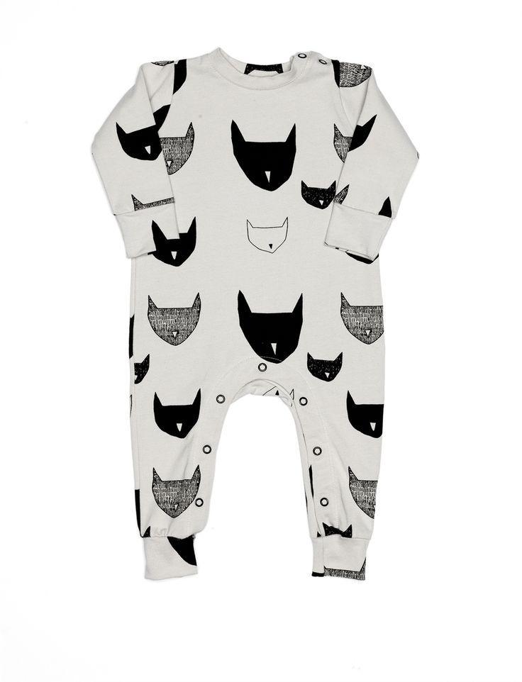grey rabbit bodysuit / black and white onesie / gender neutral baby clothes