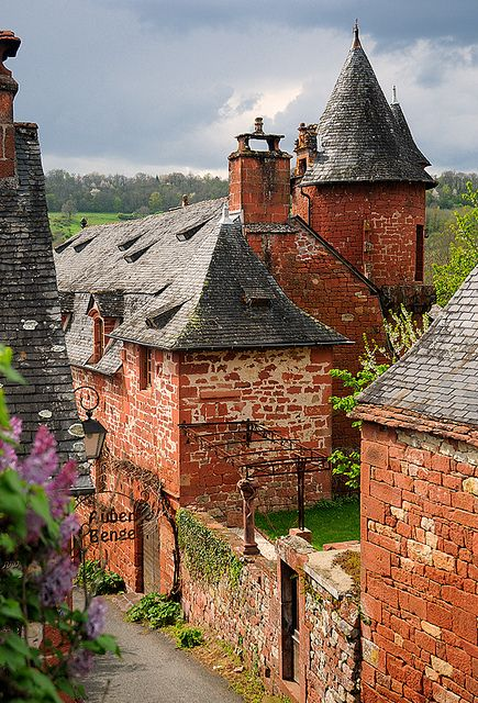 Collonges-la-Rouge, one of the most beautiful villages in France, dates from the 8th century and is built entirely of red sandstone. Corrèze.