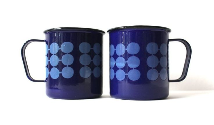 Vintage Pair of Finel Blue Enamel Domino Mugs / Cups by PaperSparks on Etsy